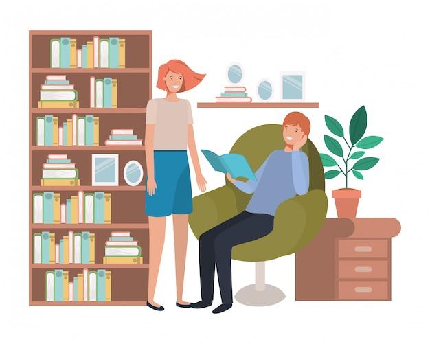 Koppel met boek in woonkamer avatar karakter