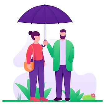 Koppel met een paraplu illustratie