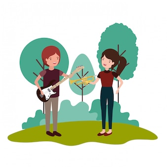Koppel met muziekinstrumenten in landschap