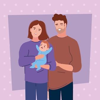 Koppel met pasgeboren scène