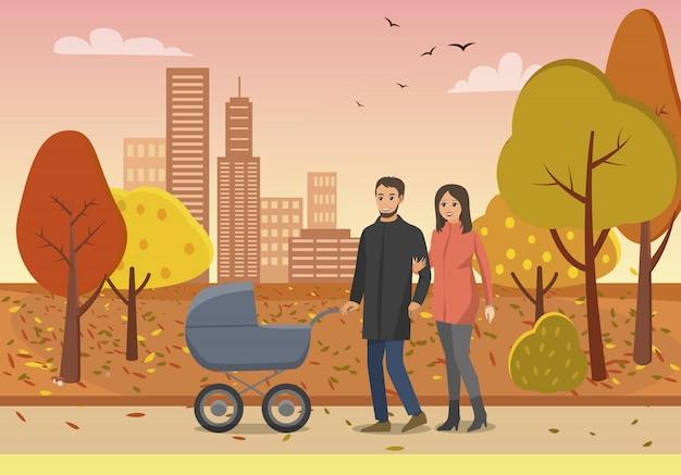 Koppel met pram family people in park vector