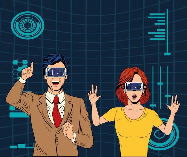 Koppel met virtual reality-headset