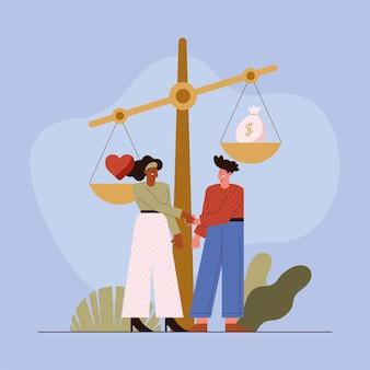 Koppel met zakelijke ethiek balans
