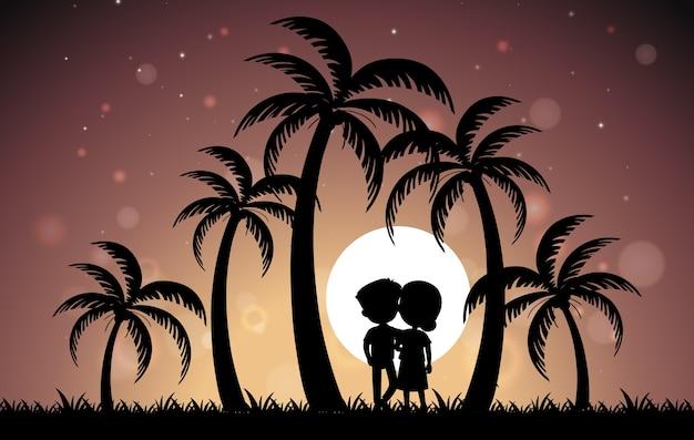 Koppel onder de palmboom