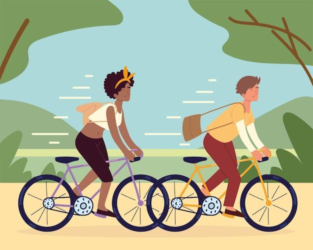 Koppel op de fiets