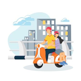 Koppel op een scooter. gelukkig samen rijden
