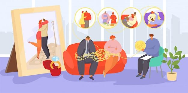 Koppel op psychotherapie, cartoon trieste volwassen familie mensen bezoeken psychotherapeut voor advies, hulp bij emotionele problemen