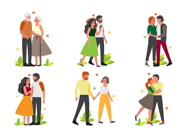 Koppel op verschillende activiteitenset. vrouw en man zijn verliefd. liefhebbers hand in hand en samen tijd doorbrengen.