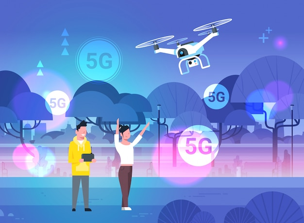 Koppel operationele drone met afstandsbediening 5g vijfde innovatieve generatie van internetverbindingsconcept