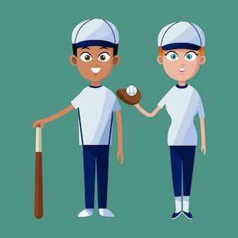 Koppel speler honkbal glb handschoen vleermuis en bal