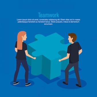 Koppel teamwerk met puzzelstukjes