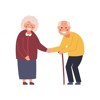 Koppel tijdens de bijeenkomst. ouderen leren elkaar kennen. zeg hallo. illustratie.