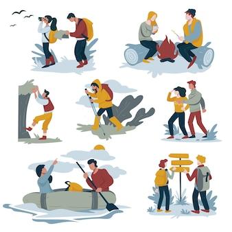 Koppel wandelen en backpacken, kamperen en raften, bergbeklimmen en wandelen