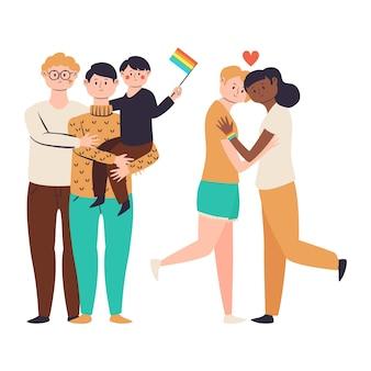 Koppels en gezinnen met een plat ontwerp die trotsdag vieren
