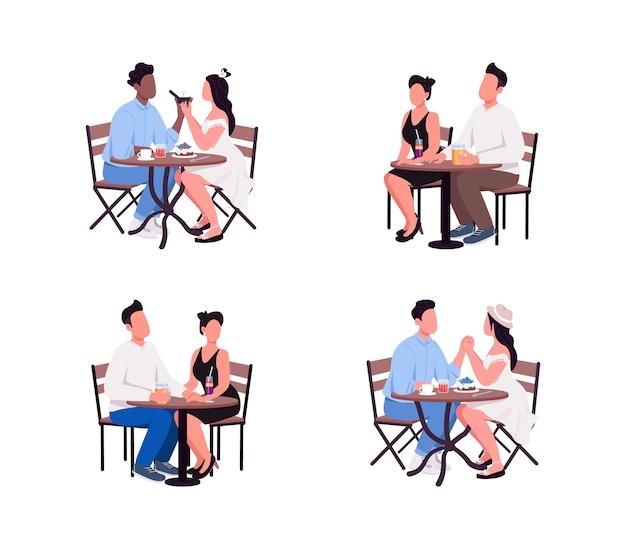 Koppels zitten aan tafel met een gezichtsloze tekenset in een effen kleur
