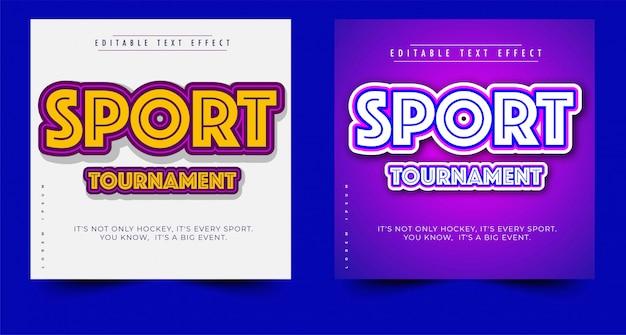 Koptekst of titel van sportevenement, bewerkbaar teksteffect, eenvoudig aanpassen
