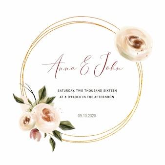 Koraal rozen bruiloft uitnodiging voor bruiloft kaarten, bewaar de datum en bladeren