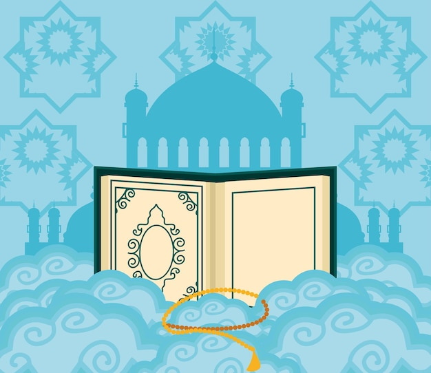 Koran islamitische tempel rozenkrans wolken