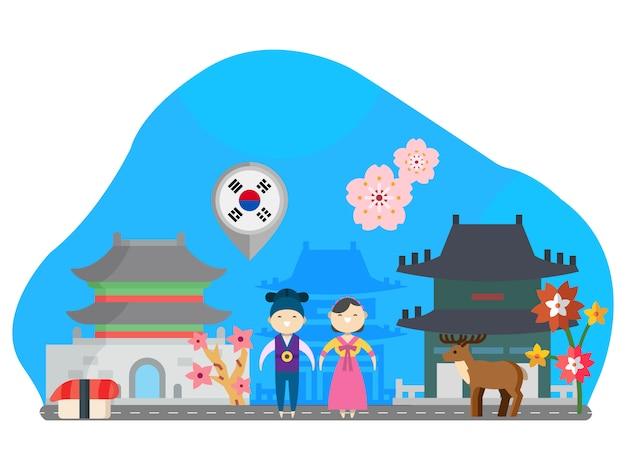 Korea landmark flat illustratie
