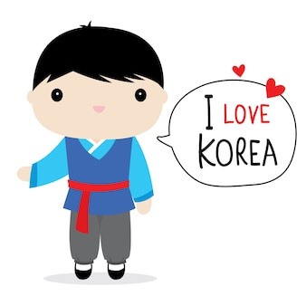 Korea mannen nationale jurk cartoon vector