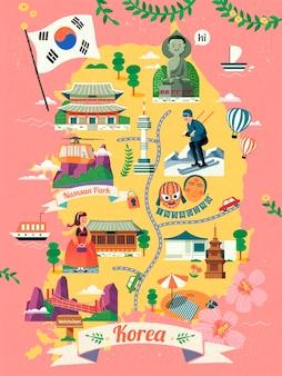 Korea reiskaart, mooie korea beroemde bezienswaardigheid en cultuur symbool op kaart binnen, roze achtergrond