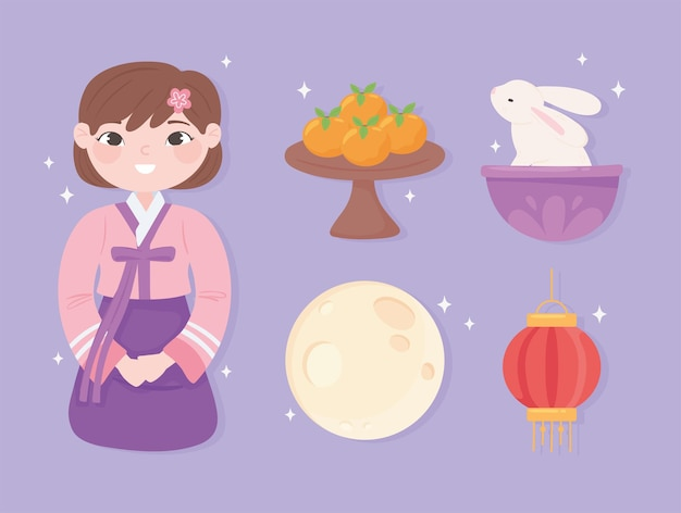 Koreaans meisje en pictogrammen