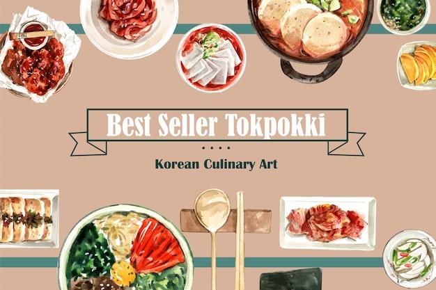 Koreaans voedselontwerp met kruidige kip, kimchi, ddukbokki waterverfillustratie.