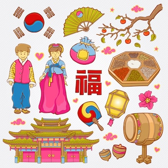 Koreaanse aard en cultuur pictogrammen doodle set vectorillustratie
