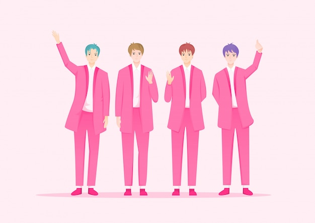Koreaanse beroemdheid zanger cartoon. k-pop muziek groep karakters.