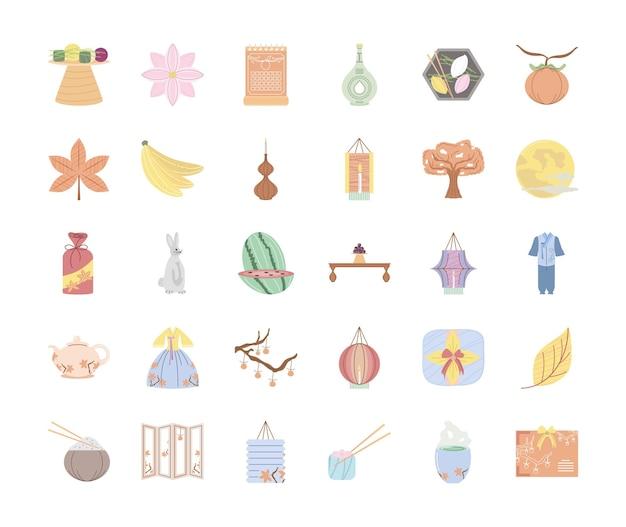 Koreaanse chuseok-pictogrammen