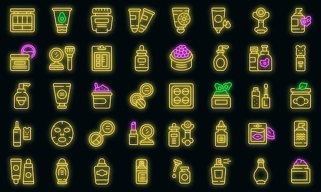 Koreaanse cosmetica icoon. overzicht koreaanse cosmetica vector pictogram neon kleur op zwart