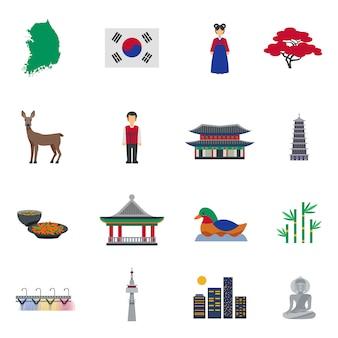 Koreaanse cultuur symbolen platte pictogrammen instellen
