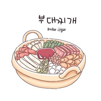 Koreaanse hotpot voedsel illustratie