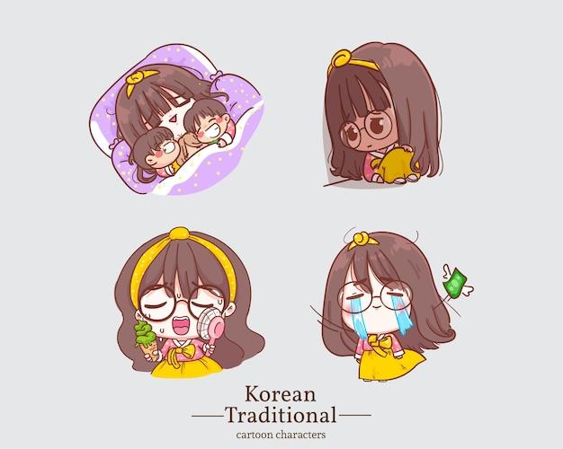 Koreaanse karakters van lachende schattige meisjes in traditionele koreaanse hanbok-kledingsbeeldverhalen. illustratie instellen