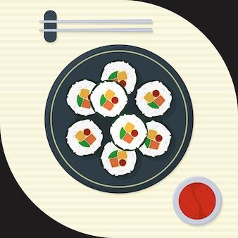 Koreaanse kimbap-illustratie