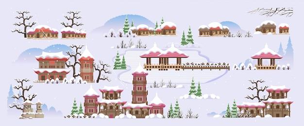 Koreaanse stijl gebouw. huizen en tempels in koreaanse stijl. het landschap van korea tijdens het winterse herfstseizoen. verschillende kleuren van de winter.