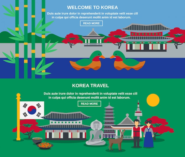 Korean culture travel horizontal banners set