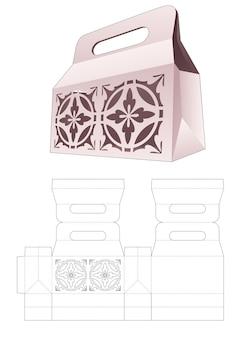 Korte boodschappentas met gestencild mandala patroon gestanst sjabloon