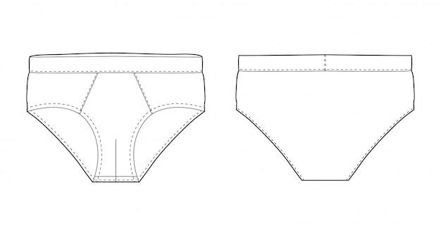 Korte broek ondergoed geïsoleerde technische schets. vectorillustratie van mannen onderbroeken. man ondergoed. voor- en achteraanzicht.