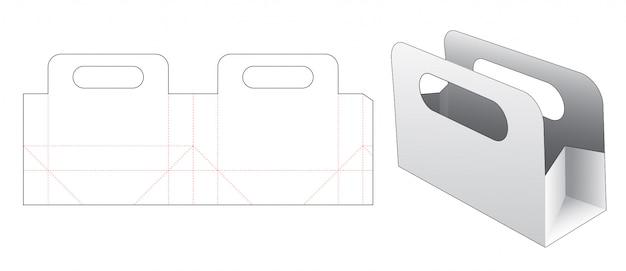 Korte papieren zak gestanst sjabloonontwerp
