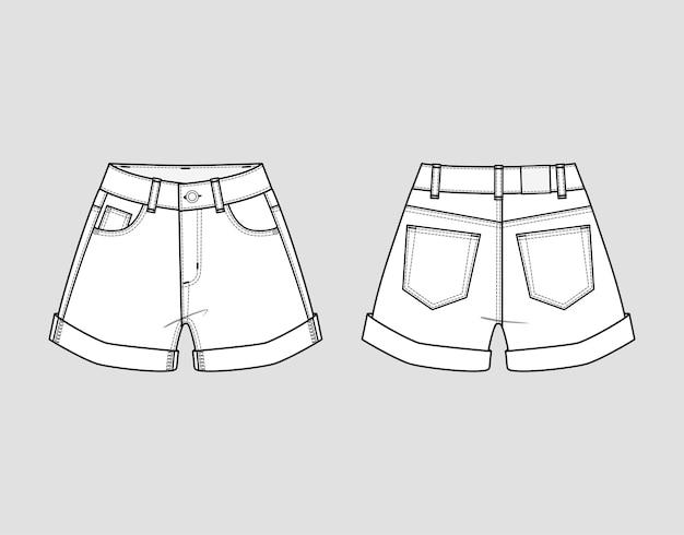 Korte spijkerbroek.