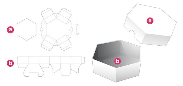 Korte zeshoekige doos en deksel gestanst sjabloon