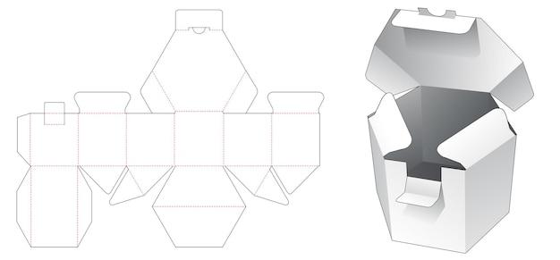 Korte zeshoekige doos met gestanste sjabloon met vergrendelde punt