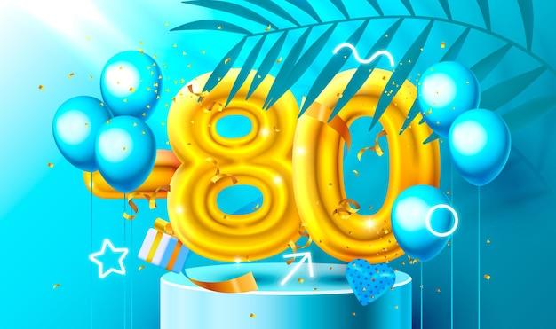 Korting creatieve compositie d gouden verkoop symbool met decoratieve objecten hartvormige ballonnen... Premium Vector