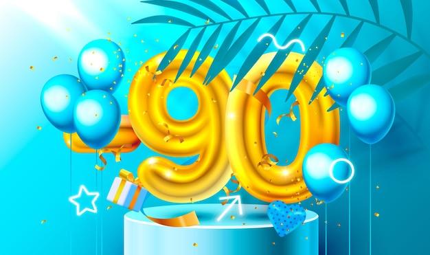 Korting creatieve compositie d gouden verkoop symbool met decoratieve objecten hartvormige ballonnen...