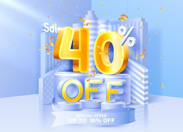 Korting creatieve compositie d verkoop symbool met decoratieve objecten gouden confetti podium en g ...