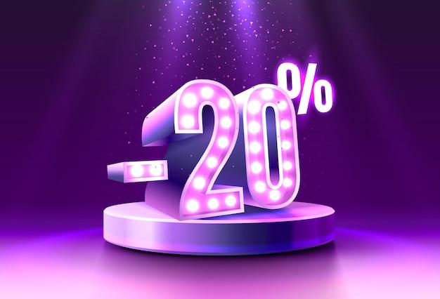 Korting creatieve compositie d verkoop symbool neon podium geschenkdoos verkoop banner en poster vector