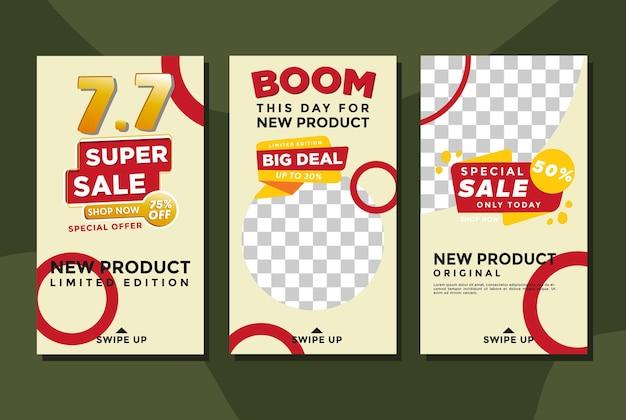 Korting en aanbieding winkelsjabloon verhaal instagram gratis vectorillustratie Premium Vector