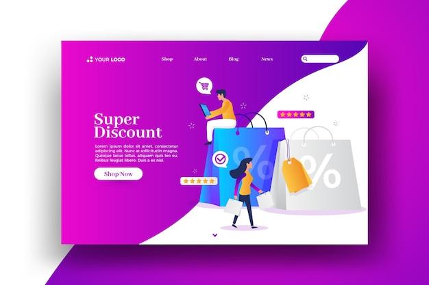 Korting en boodschappentassen verkoop weblandingspagina