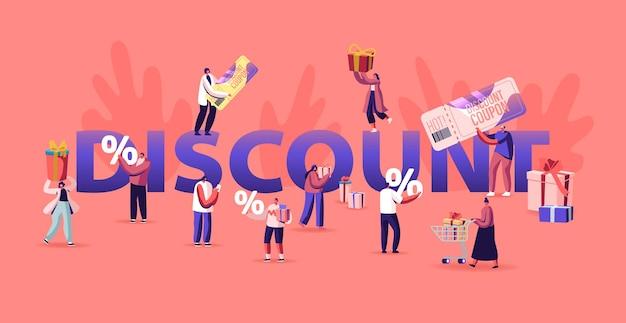 Korting en verkoopconcept. gelukkige mensen winkelen recreatie. shopperpersonages dingen kopen met behulp van een kortingsbon. cartoon vlakke afbeelding